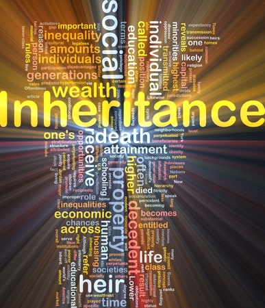 Background concept wordcloud illustration of inheritance glowing light Stock Illustration - 10287814