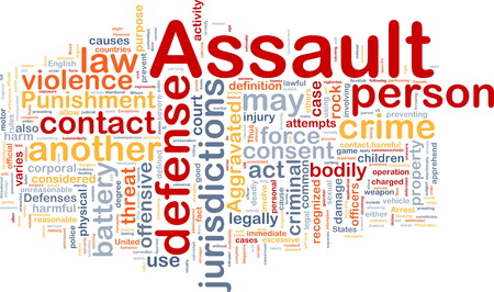 assault: Background concept wordcloud of assault crime