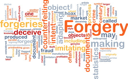 Background concept wordcloud of forgery counterfeiting