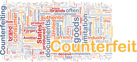 sued: Background concept wordcloud of counterfeit goods