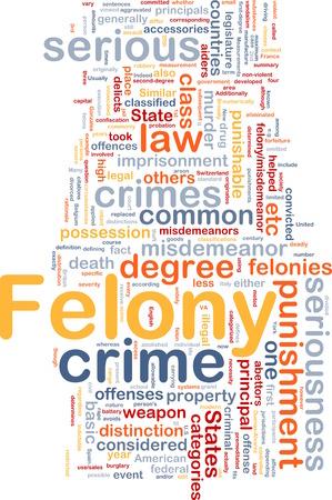 felony: Background concept wordcloud of felony crime