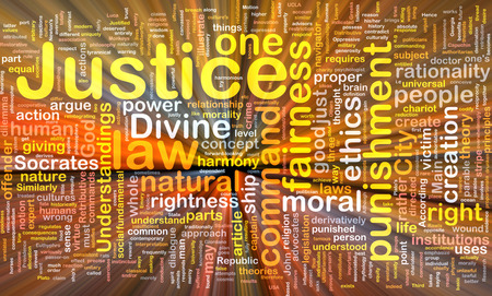 rightness: Background concept wordcloud of justice law glowing light