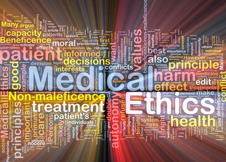 ethics: Background concept wordcloud of medical ethics glowing light