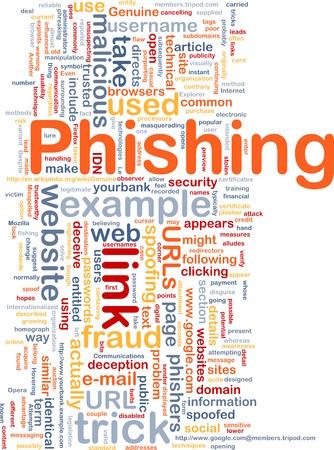 phishing: Background concept wordcloud of phishing trick