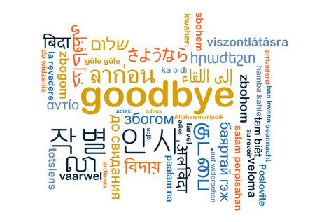 idiomas: Concepto de fondo wordcloud ilustración muchos lengua internacional multilenguaje de despedida