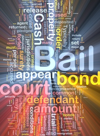 bail: Background text pattern concept wordcloud illustration of bail glowing light