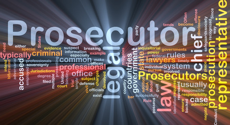 prosecutor: Background text pattern concept wordcloud illustration of prosecutor glowing light