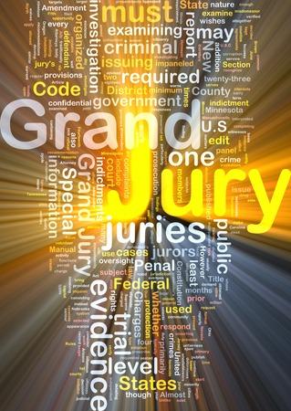 jurado: Ilustración de fondo patrón de texto de wordcloud concepto de luz brillante del gran jurado Foto de archivo