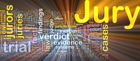 Background text pattern concept wordcloud illustration of jury glowing light
