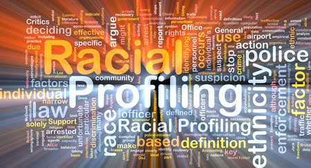 racial: Background text pattern concept wordcloud illustration of racial profiling glowing light