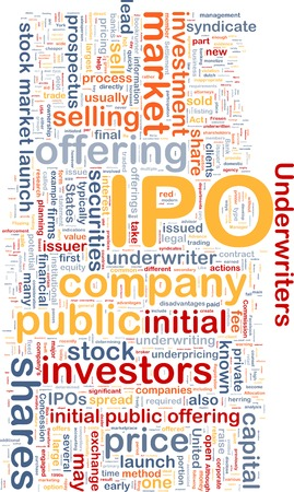 stock market launch: Background text pattern concept wordcloud illustration of IPO initial public offering