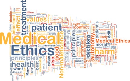 ethics: Background text pattern concept wordcloud illustration of medical ethics Stock Photo
