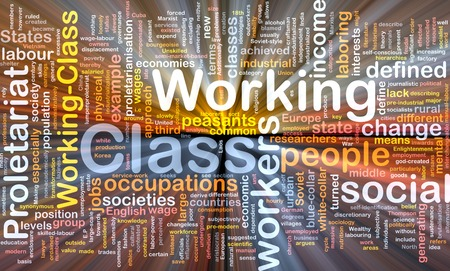 wordcloud: Working class background wordcloud concept illustration glowing Stock Photo