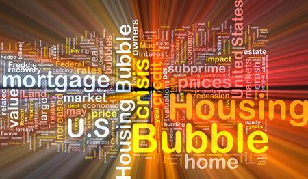 subprime: Background text pattern concept wordcloud illustration of housing bubble glowing light