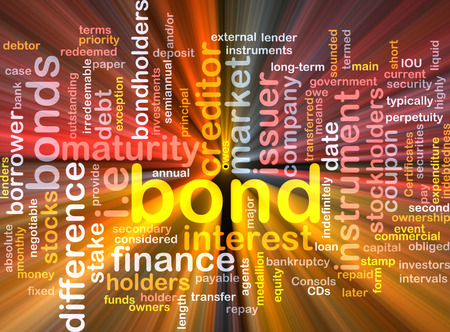Background text pattern concept wordcloud illustration of financial bond glowing light Stock Photo