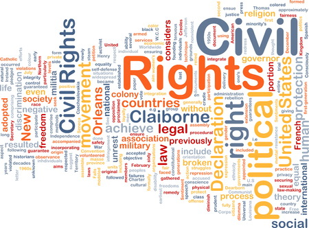 social movement: Background text pattern concept wordcloud illustration of civil rights Stock Photo