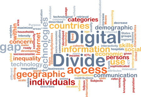 socioeconomic: Background text pattern concept wordcloud illustration of digital divide Stock Photo