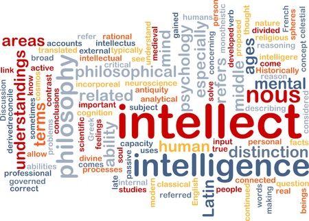 intellect: Background text pattern concept wordcloud illustration of intellect