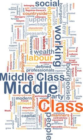 clase media: Ilustraci�n de fondo patr�n de texto de wordcloud concepto de clase media