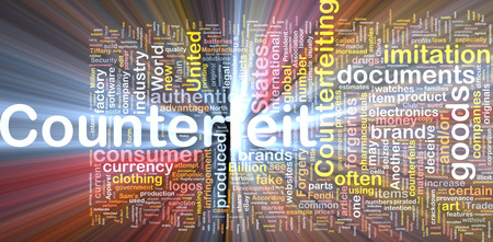 counterfeit: Background concept wordcloud of counterfeit goods glowing light Stock Photo