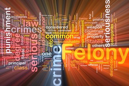 felony: Background concept wordcloud of felony crime glowing light