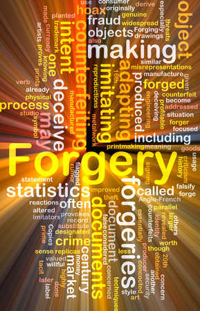 widespread: Background concept wordcloud of forgery counterfeiting glowing light