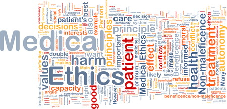 ethics: Background concept wordcloud of medical ethics Stock Photo