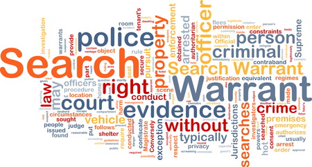 warrant: Background concept wordcloud of search warrant Stock Photo