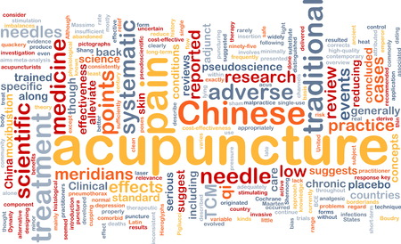 Background text pattern concept wordcloud illustration of acupuncture treatment