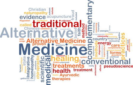 medicine: Background text pattern concept wordcloud illustration of alternative medicine Stock Photo