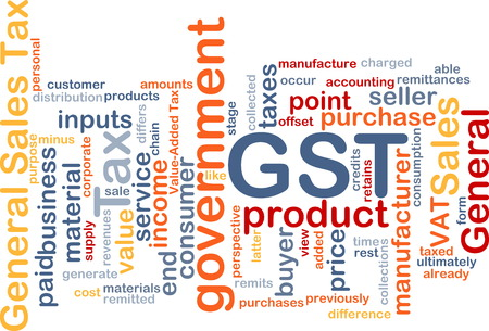 representations: Background text pattern concept wordcloud illustration of GST tax