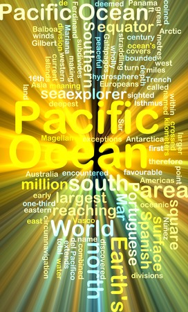 pacific ocean: Background text pattern concept wordcloud illustration of pacific ocean glowing light