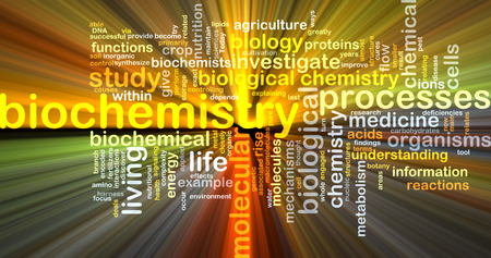 biochemistry: Background text pattern concept wordcloud illustration of biochemistry glowing light Stock Photo