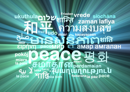 peace concept: Background concept wordcloud multilanguage international many language illustration of peace glowing light
