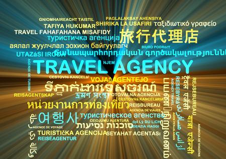 travel agency: Background concept wordcloud multilanguage international many language illustration of travel agency glowing light