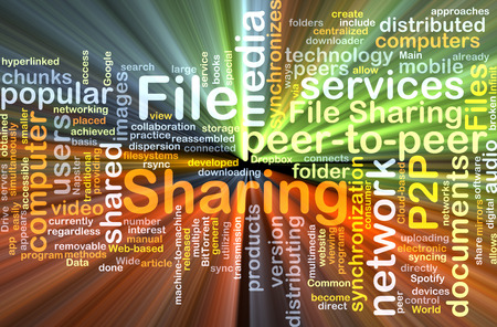 p2p: Background text pattern concept wordcloud illustration of file sharing glowing light