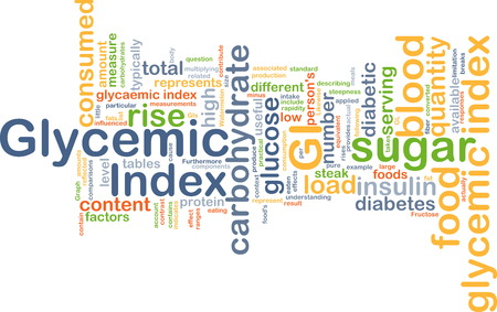 glycemic: Background text pattern concept wordcloud illustration of of glycemic index Stock Photo