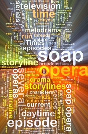 soap opera wordcloud concept illustration glowing light