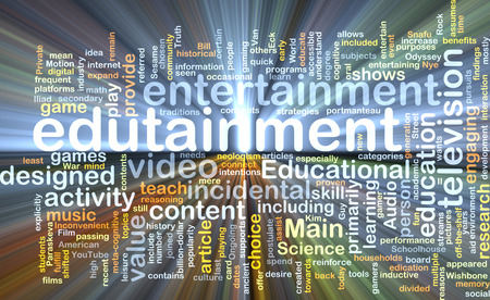 edutainment: Background text pattern concept wordcloud illustration of edutainment glowing light Stock Photo