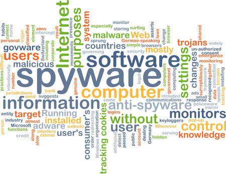 spyware: Background text pattern concept wordcloud illustration of spyware software