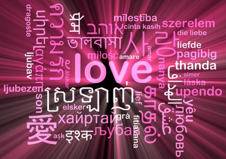 multilingual: Background concept wordcloud multilanguage international many language illustration of love glowing light