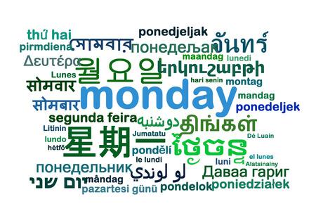 Background concept wordcloud multilanguage international many language illustration of Monday day Stock Photo