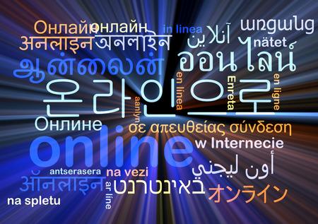 multilingual: Background concept wordcloud multilanguage international many language illustration of online glowing light