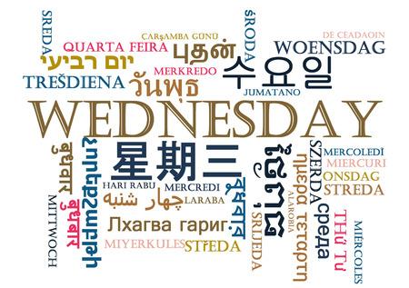 wednesday: Background concept wordcloud multilanguage international many language illustration of Wednesday day Stock Photo