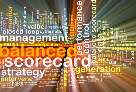 balanced: Background text pattern concept wordcloud illustration of balanced scorecard glowing light Stock Photo