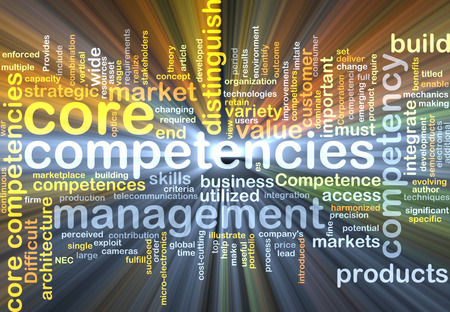 core strategy: Background text pattern concept wordcloud illustration of core competencies glowing light