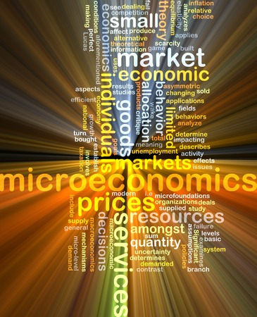 economic theory: Background text pattern concept wordcloud illustration of microeconomics glowing light