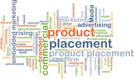 product placement: Background text pattern concept wordcloud illustration of product placement