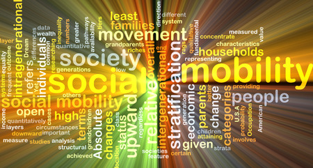 social movement: Background text pattern concept wordcloud illustration of social mobility glowing light Stock Photo