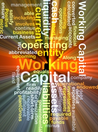 liquidity: Background text pattern concept wordcloud illustration of working capital glowing light Stock Photo